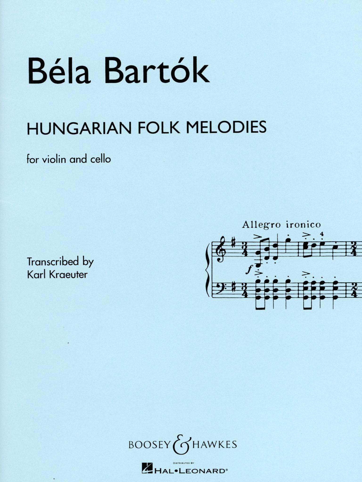 HAL LEONARD Bartok (Kraeuter): Hungarian Folk Melodies - TRANSCRIBED (violin & cello) Boosey & Hawkes
