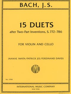 International Music Company Bach, J.S. (David/Jee/Iwata): 15 Duets after Two-Part Inventions, S.772-786 - ARRANGED (violin & cello) International