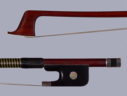 Joseph HALLIGAN cello bow, round Pernambuco stick with ebony & silver frog, USA, 81.9 g.