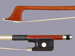 Mexican MIGUEL HUIPE silver cello bow, Pernambuco, MEXICO, 84.2 grams