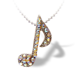 Lauren-Spencer Silver Crystal 8th Note Necklace