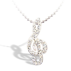 Lauren-Spencer Silver Crystal Treble Clef Necklace