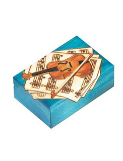 Blue wooden violin motif box, Poland