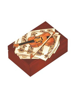 Mahogony-color wooden violin motif box, Poland