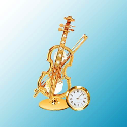 Mascot International Inc Clock Gold/Crystal Violin