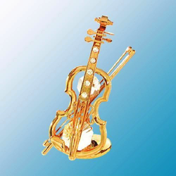 Mascot International Inc Crystal Violin on Gold Stand