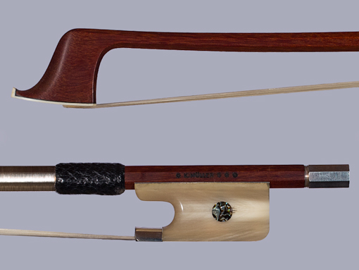 *K. MÜLLER*** Pernambuco cello bow horn/silver, GERMANY
