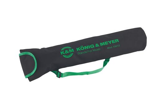 Koenig & Meyer K&M, medium length black stand bag with green carrying strap, trim and logo