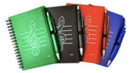 AIM Gifts Treble clef notebook with pen Red, Green, Black or Blue