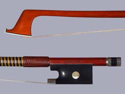 Joseph HALLIGAN violin bow, round Pernambuco stick with ebony & silver frog, USA, 60.5 g.