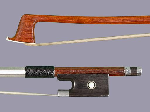 GUSTAV PRAGER violin bow, ebony with silver
