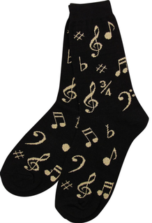 Black sock with gold note pattern. Available in women's size (9-11).