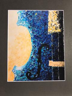''Rhapsody in Blue'' violin art print by Terri Goulard Henningson