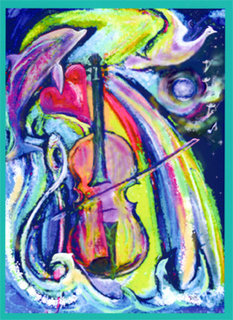 Dov ''Violin Leap'' Muse-Art Note Card by Dov