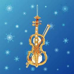 Mascot International Inc Crystal/Gold Violin Ornament