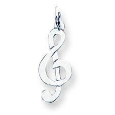 Silver Treble Clef Necklace, Wire Chain