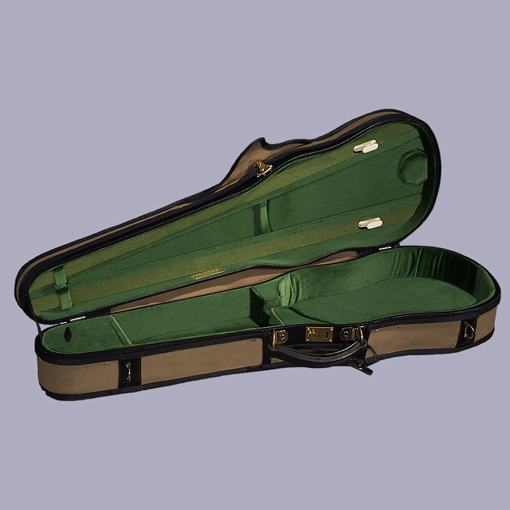 Timms T. A. Timms Deluxe Shaped Professional English Model Violin Case, Brown cover with Light Green Cotton Velvet Interior