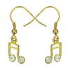 Lauren-Spencer Genuine Crystal, Gold-Colored 16th Note Earrings