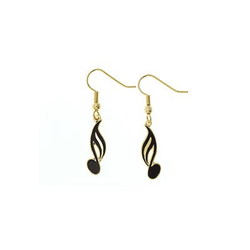 AIM Gifts Gold & Black-Colored 16th Note Earrings