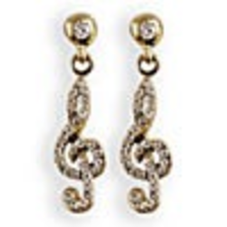 Lauren-Spencer Genuine Crystal, Topaz & Gold-Colored Treble Clef Earrings