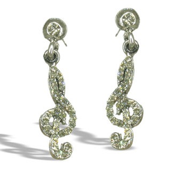 Silver-Colored Crystal Clef Earrings