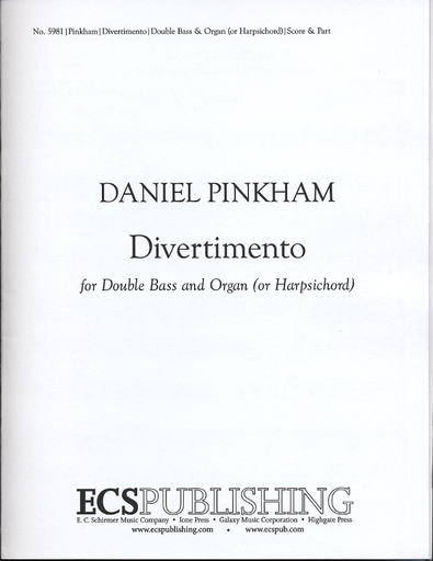 Pinkham, Daniel: Divertimento for Double Bass and Organ
