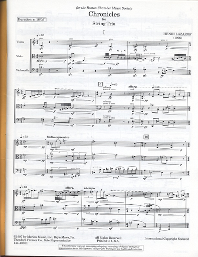 Carl Fischer Lazarof, Henri: Chronicles (violin, viola, cello) score & parts