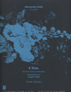 Zimmermann Rolla, Allesandro: Trio No. 3 in Eb Major (violin, viola, cello) score & parts