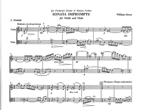 Alwyn, William: Sonata Impromptu for Violin & Viola