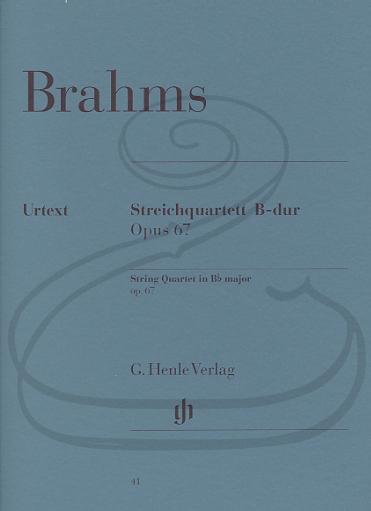 HAL LEONARD Brahms (Reiser): String Quartet in Bb Major, Op.67 (string quartet) Henle Verlag