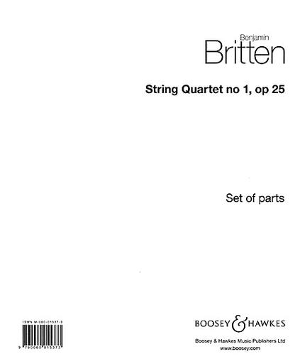 HAL LEONARD Britten, Benjamin: String Quartet No. 1, Op. 25 in D Major