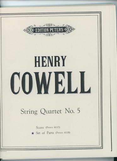 Cowell, Henry: Quartet No. 5 (string quartet) set of parts
