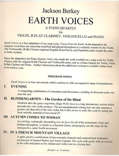 LudwigMasters Berkey: Earth Voices (violin, clarinet, cello, & piano) Masters Music