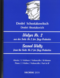 HAL LEONARD Shostakovich, Dmitri: Second Waltz from Jazz Suite #2 (Piano, 2 Violins, Cello)