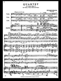 International Music Company Strauss, Richard: Piano Quartet in C minor, Op. 13 (violin, viola, cello, piano)