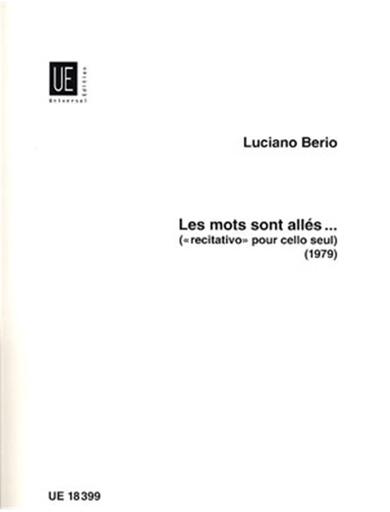 Carl Fischer Berio, Luciano: Mots Sont Alles (Solo Cello)
