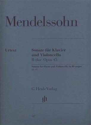 HAL LEONARD Mendelssohn, F. (Elvers, ed.): Sonata in Bb Major, Op.45, urtext (cello & piano)