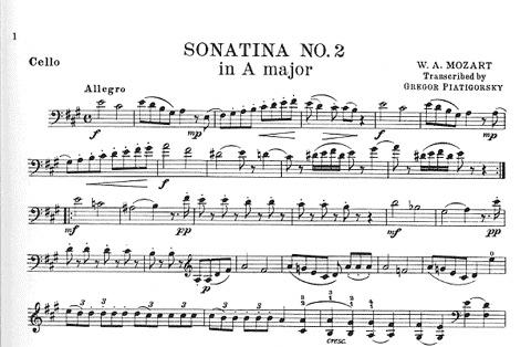 Carl Fischer Mozart (Piatigorsky): Sonatina #2 in A (cello & piano) custom print