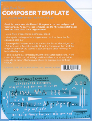 Long Beach Music Composer Template with 10 Stave Manuscript Paper, 50 Page Tablet