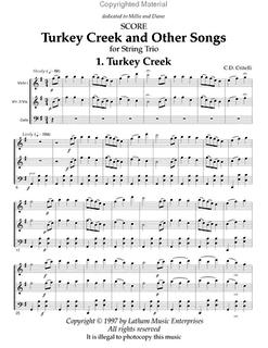 Critelli, Carol: Turkey Creek & Other Songs for String Trio (score)