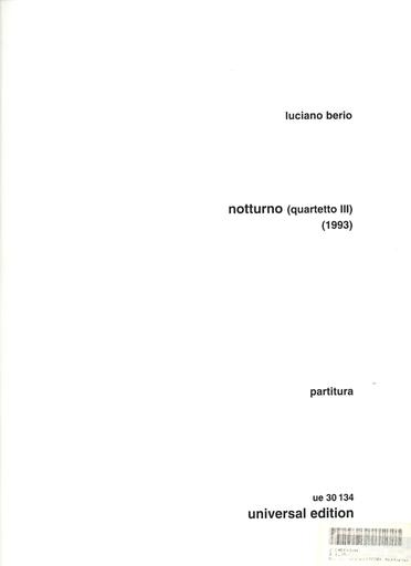 Carl Fischer Berio, L.:  Notturno for String Quartet III (score)