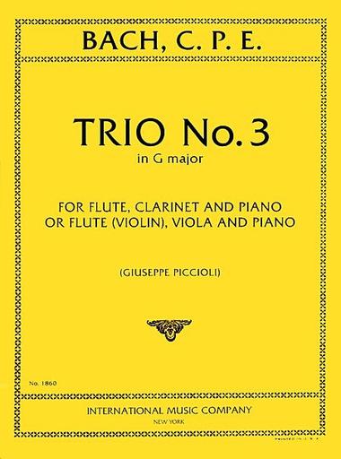 International Music Company Bach, CPE: Trio No. 3 in G major (violin (flute), viola, piano)