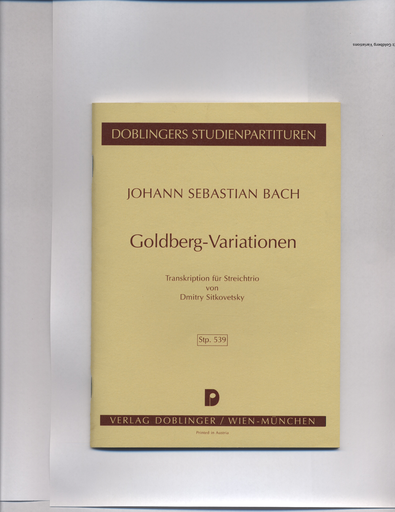 Bach, J.S. (Sitkovetsky): SCORE, Goldberg Variations (violin, viola & cello)