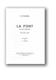 Unión Musical Ediciones Toldra, Eduardo: La Font (viola & piano)
