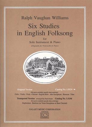 Galaxy Music Vaughan Williams, Ralph: 6 Studies in English Folksong (viola & piano)