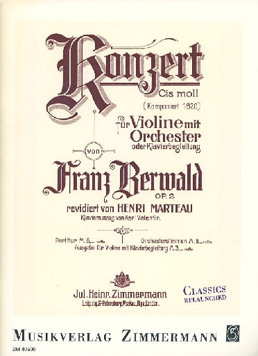 Berwald, F.: Concerto in C Sharp Minor, Op. 2 (violin and piano)