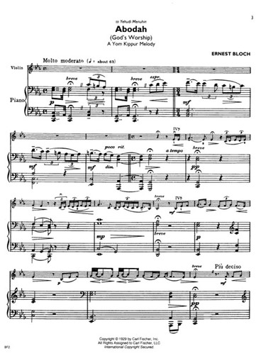 Carl Fischer Bloch, Ernest: Music for Violin and Piano
