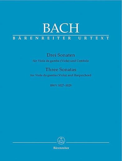 Barenreiter Bach, J.S.: 3 Sonatas for Viola da gamba & Harpsichord (Viola & Piano)