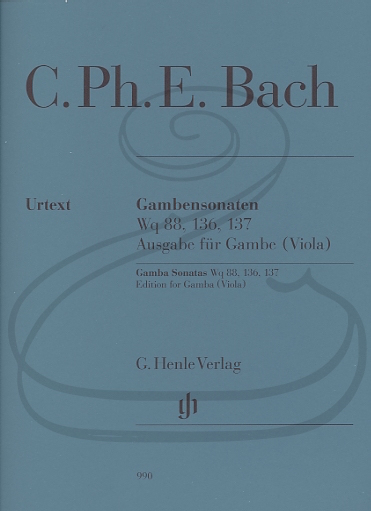 HAL LEONARD Bach, C.Ph.E. (Ensslin/Heinemann): Gamba Sonatas, Wq88, 136, 137 - URTEXT (viola & piano) Henle