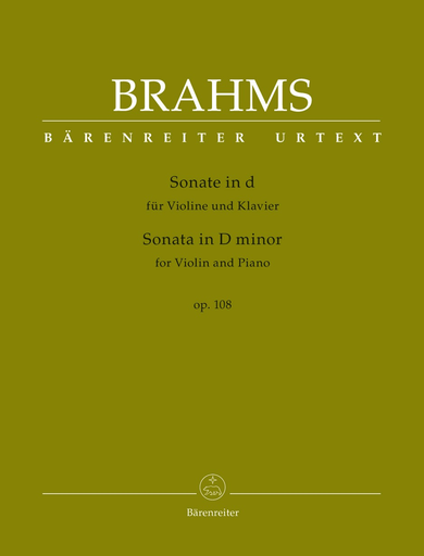 Barenreiter Brahms, Johannes : Sonata D minor op. 108  (Violin and Piano) Barenreiter